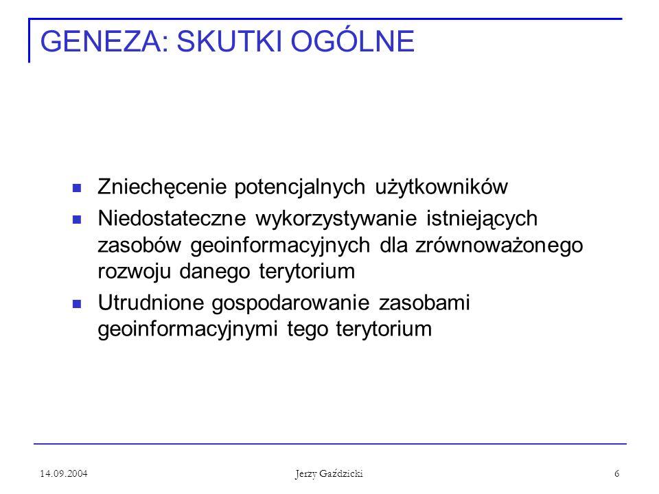 14.09.2004 Jerzy Gaździcki 6 GENEZA: SKUTKI OGÓLNE Zniechęcenie potencjalnych użytkowników Niedostateczne wykorzystywanie istniejących zasobów geoinfo