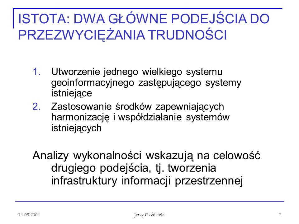 14.09.2004 Jerzy Gaździcki 7 ISTOTA: DWA GŁÓWNE PODEJŚCIA DO PRZEZWYCIĘŻANIA TRUDNOŚCI 1.Utworzenie jednego wielkiego systemu geoinformacyjnego zastęp