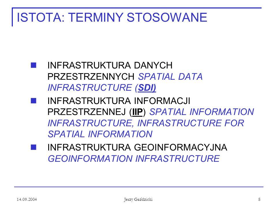 14.09.2004 Jerzy Gaździcki 8 ISTOTA: TERMINY STOSOWANE INFRASTRUKTURA DANYCH PRZESTRZENNYCH SPATIAL DATA INFRASTRUCTURE (SDI) INFRASTRUKTURA INFORMACJI PRZESTRZENNEJ (IIP) SPATIAL INFORMATION INFRASTRUCTURE, INFRASTRUCTURE FOR SPATIAL INFORMATION INFRASTRUKTURA GEOINFORMACYJNA GEOINFORMATION INFRASTRUCTURE