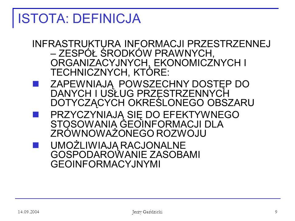 14.09.2004 Jerzy Gaździcki 9 ISTOTA: DEFINICJA INFRASTRUKTURA INFORMACJI PRZESTRZENNEJ – ZESPÓŁ ŚRODKÓW PRAWNYCH, ORGANIZACYJNYCH, EKONOMICZNYCH I TEC