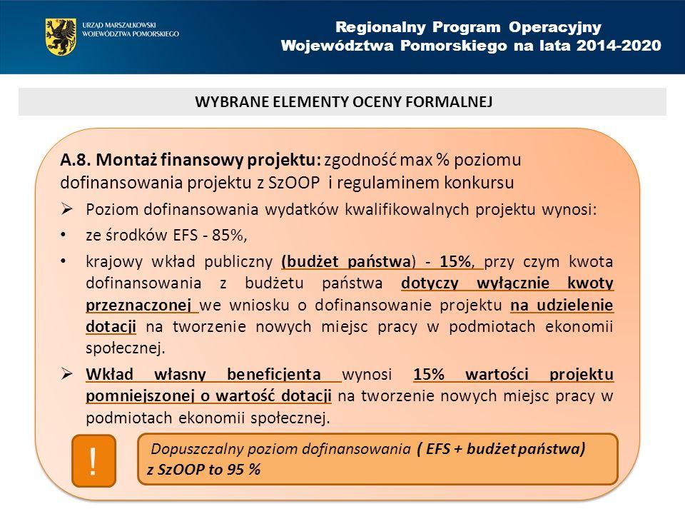 Regionalny Program Operacyjny Województwa Pomorskiego na lata 2014-2020 A.8.
