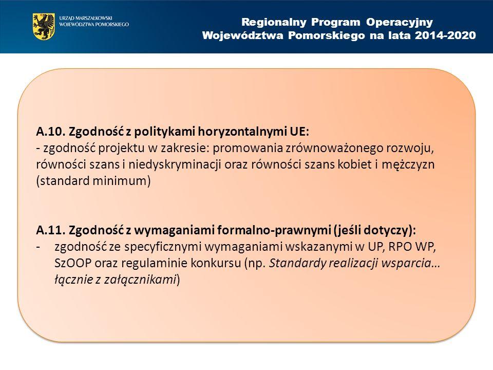 Regionalny Program Operacyjny Województwa Pomorskiego na lata 2014-2020 A.10.