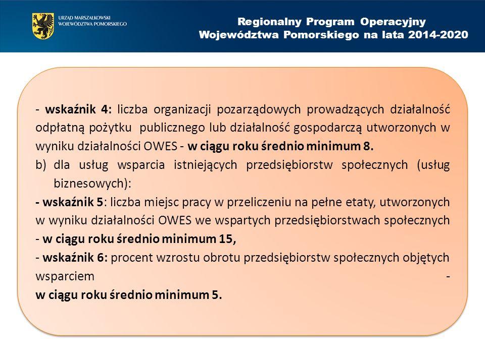 Regionalny Program Operacyjny Województwa Pomorskiego na lata 2014-2020 - wskaźnik 4: liczba organizacji pozarządowych prowadzących działalność odpłatną pożytku publicznego lub działalność gospodarczą utworzonych w wyniku działalności OWES - w ciągu roku średnio minimum 8.