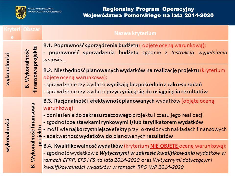 Kryteri a Obszar Nazwa kryterium wykonalności B. Wykonalność finansowa projektu B.1.