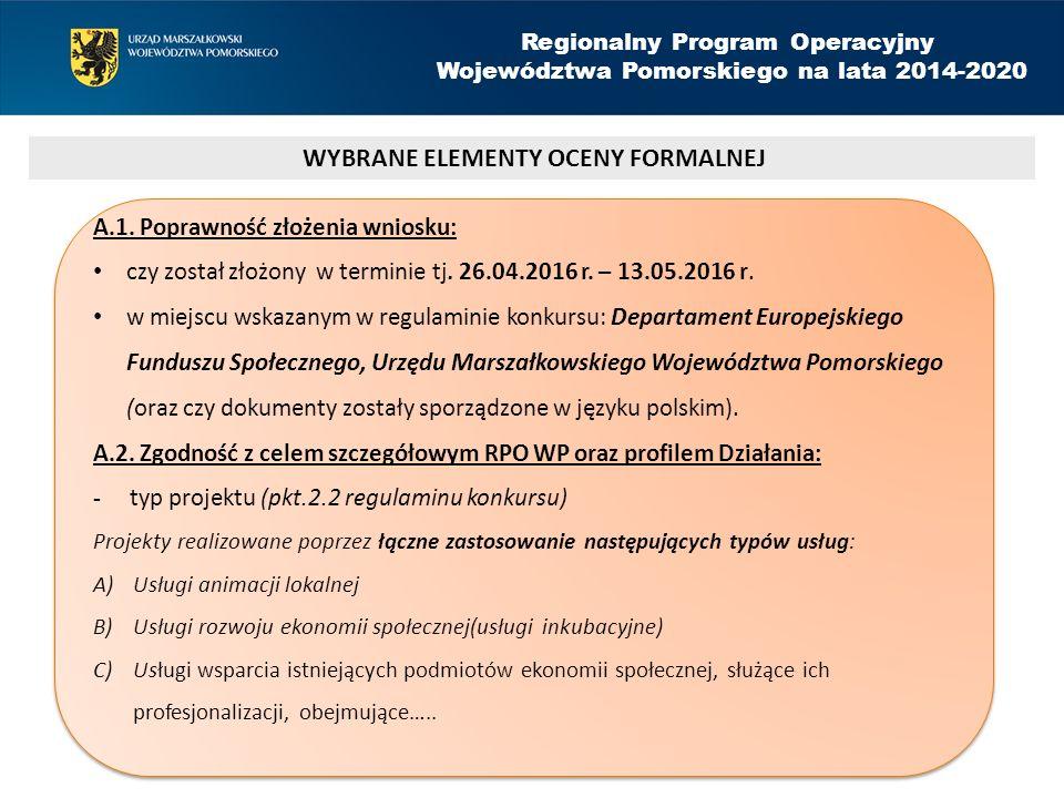 Regionalny Program Operacyjny Województwa Pomorskiego na lata 2014-2020 A.1.