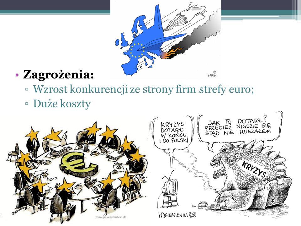 Zagrożenia: ▫Wzrost konkurencji ze strony firm strefy euro; ▫Duże koszty