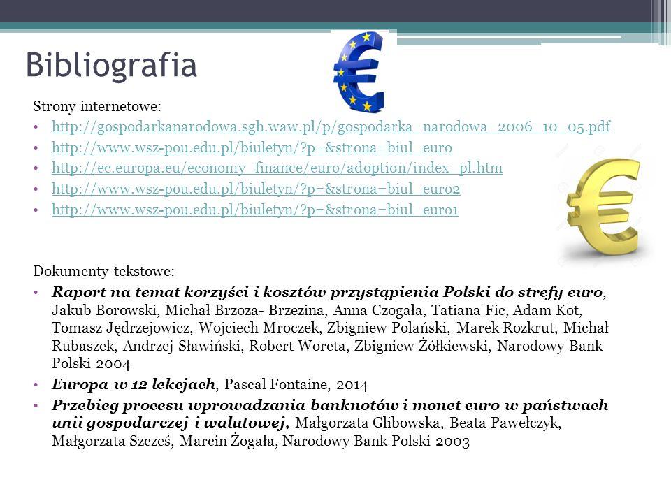 Bibliografia Strony internetowe: http://gospodarkanarodowa.sgh.waw.pl/p/gospodarka_narodowa_2006_10_05.pdf http://www.wsz-pou.edu.pl/biuletyn/?p=&strona=biul_euro http://ec.europa.eu/economy_finance/euro/adoption/index_pl.htm http://www.wsz-pou.edu.pl/biuletyn/?p=&strona=biul_euro2 http://www.wsz-pou.edu.pl/biuletyn/?p=&strona=biul_euro1 Dokumenty tekstowe: Raport na temat korzyści i kosztów przystąpienia Polski do strefy euro, Jakub Borowski, Michał Brzoza- Brzezina, Anna Czogała, Tatiana Fic, Adam Kot, Tomasz Jędrzejowicz, Wojciech Mroczek, Zbigniew Polański, Marek Rozkrut, Michał Rubaszek, Andrzej Sławiński, Robert Woreta, Zbigniew Żółkiewski, Narodowy Bank Polski 2004 Europa w 12 lekcjach, Pascal Fontaine, 2014 Przebieg procesu wprowadzania banknotów i monet euro w państwach unii gospodarczej i walutowej, Małgorzata Glibowska, Beata Pawełczyk, Małgorzata Szcześ, Marcin Żogała, Narodowy Bank Polski 2003