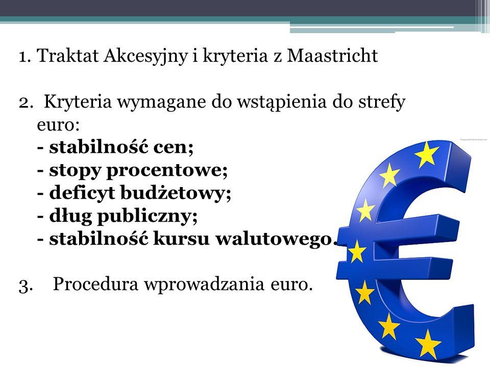 1.Traktat Akcesyjny i kryteria z Maastricht 2. Kryteria wymagane do wstąpienia do strefy euro: - stabilność cen; - stopy procentowe; - deficyt budżeto