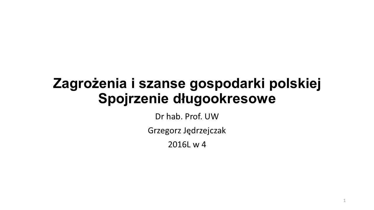 Zagrożenia i szanse gospodarki polskiej Spojrzenie długookresowe Dr hab. Prof. UW Grzegorz Jędrzejczak 2016L w 4 1