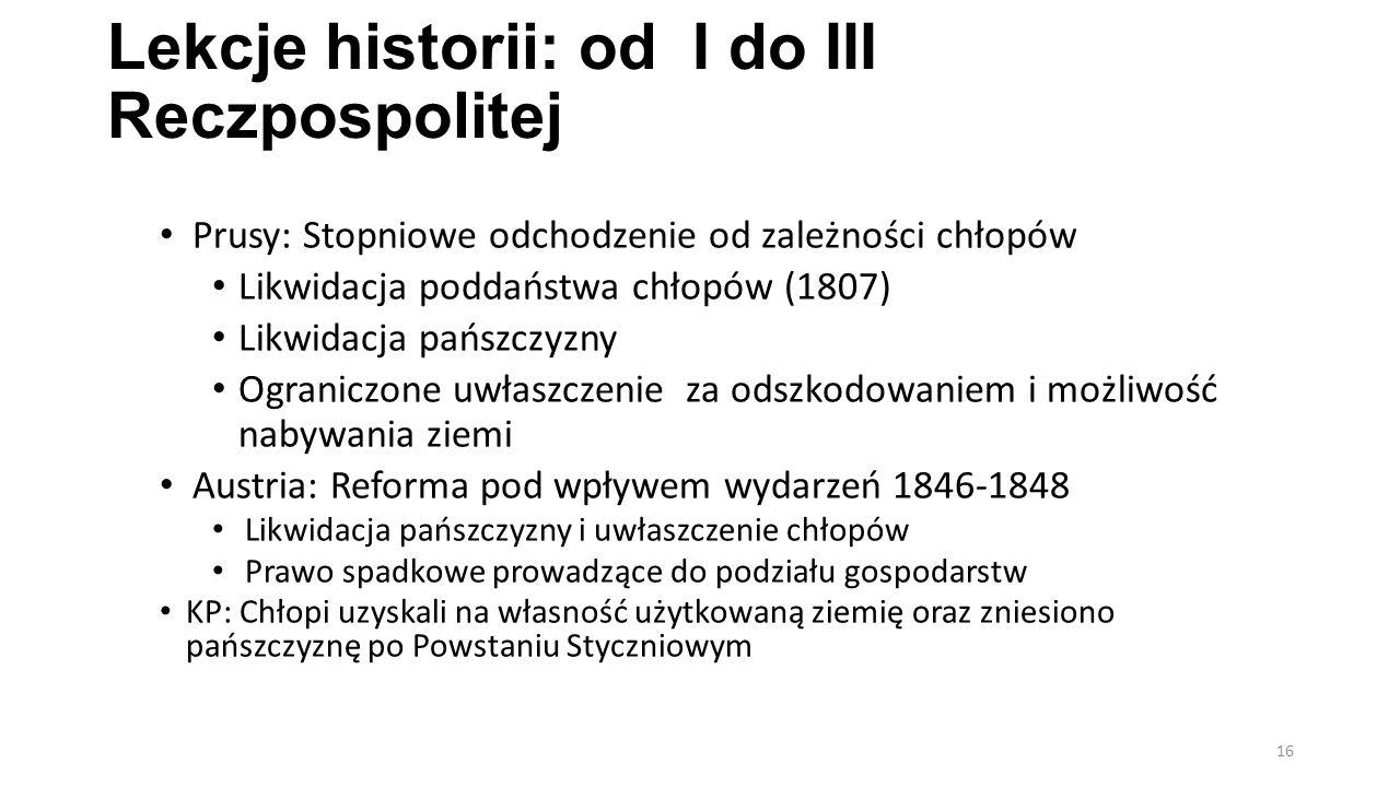 Lekcje historii: od I do III Reczpospolitej Prusy: Stopniowe odchodzenie od zależności chłopów Likwidacja poddaństwa chłopów (1807) Likwidacja pańszcz