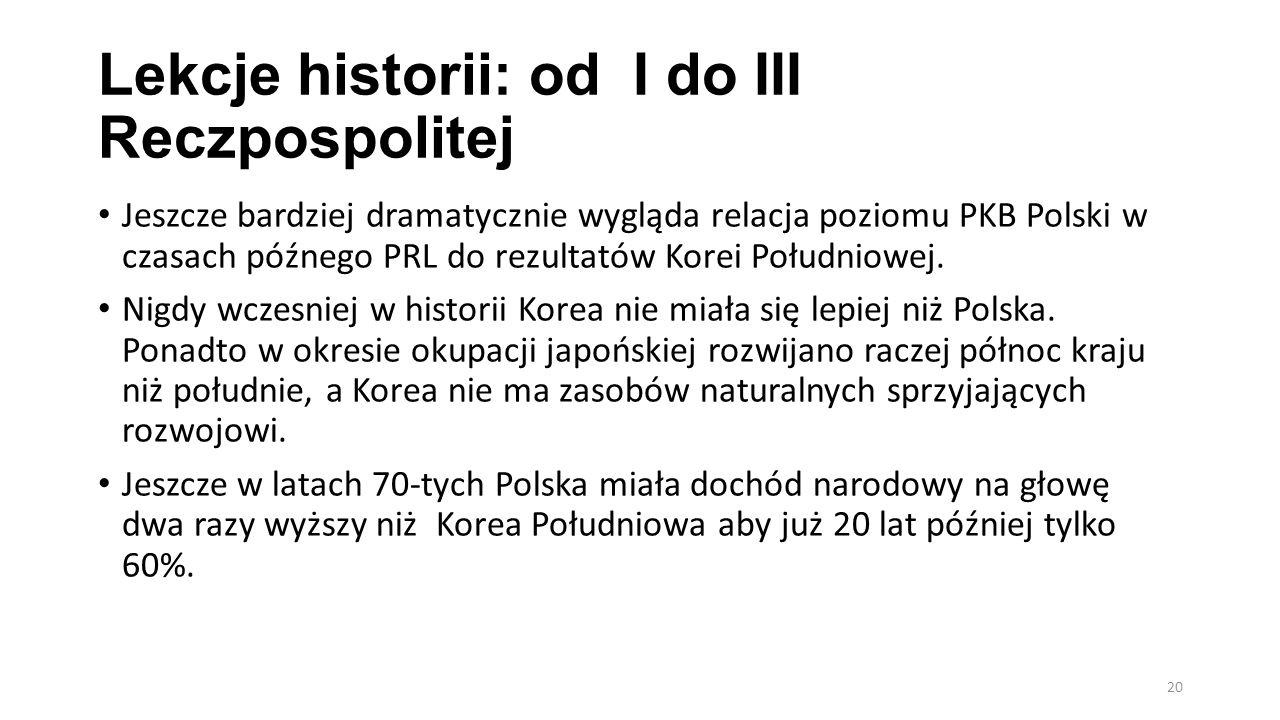 Lekcje historii: od I do III Reczpospolitej Jeszcze bardziej dramatycznie wygląda relacja poziomu PKB Polski w czasach późnego PRL do rezultatów Korei Południowej.
