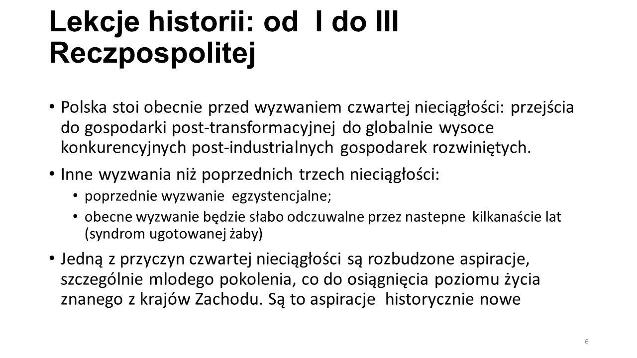 Lekcje historii: od I do III Reczpospolitej Polska stoi obecnie przed wyzwaniem czwartej nieciągłości: przejścia do gospodarki post-transformacyjnej do globalnie wysoce konkurencyjnych post-industrialnych gospodarek rozwiniętych.