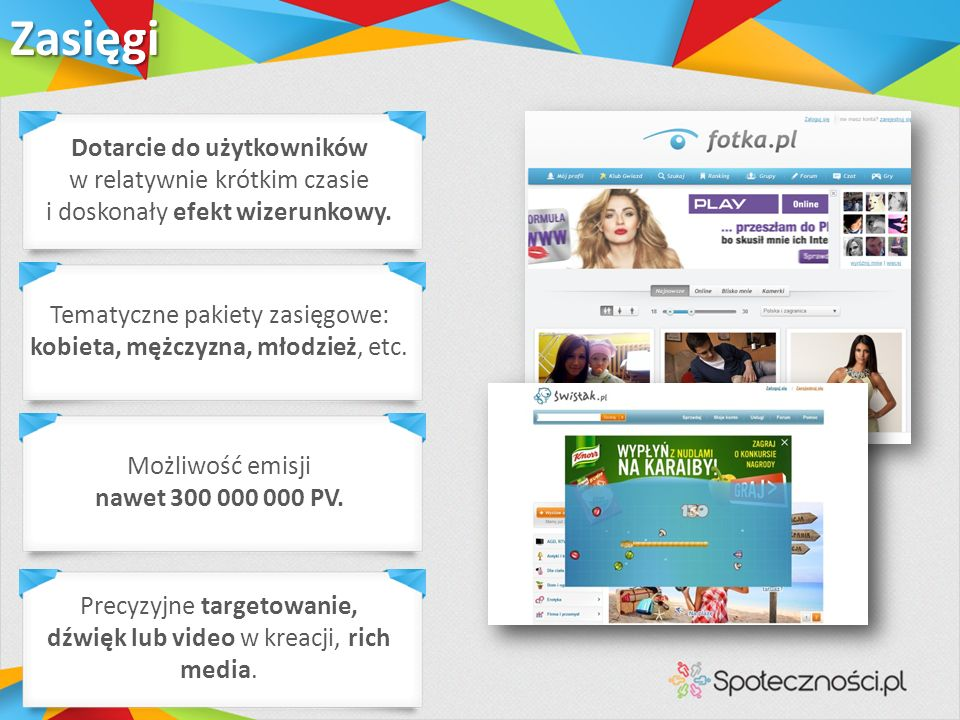 Różnorodne placementy: doublebillboard, rectangle, sky, linki txt, boksy SoSocial.