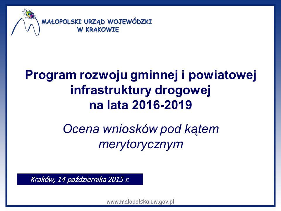 Program rozwoju gminnej i powiatowej infrastruktury drogowej na lata 2016-2019 Ocena wniosków pod kątem merytorycznym Kraków, 14 października 2015 r.