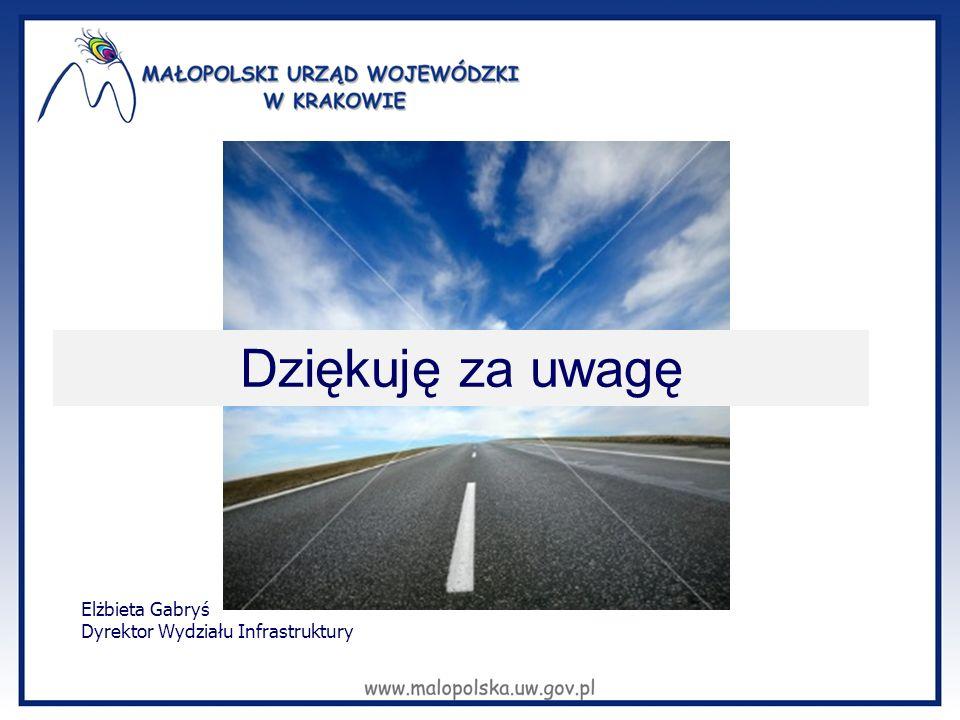 Dziękuję za uwagę Elżbieta Gabryś Dyrektor Wydziału Infrastruktury