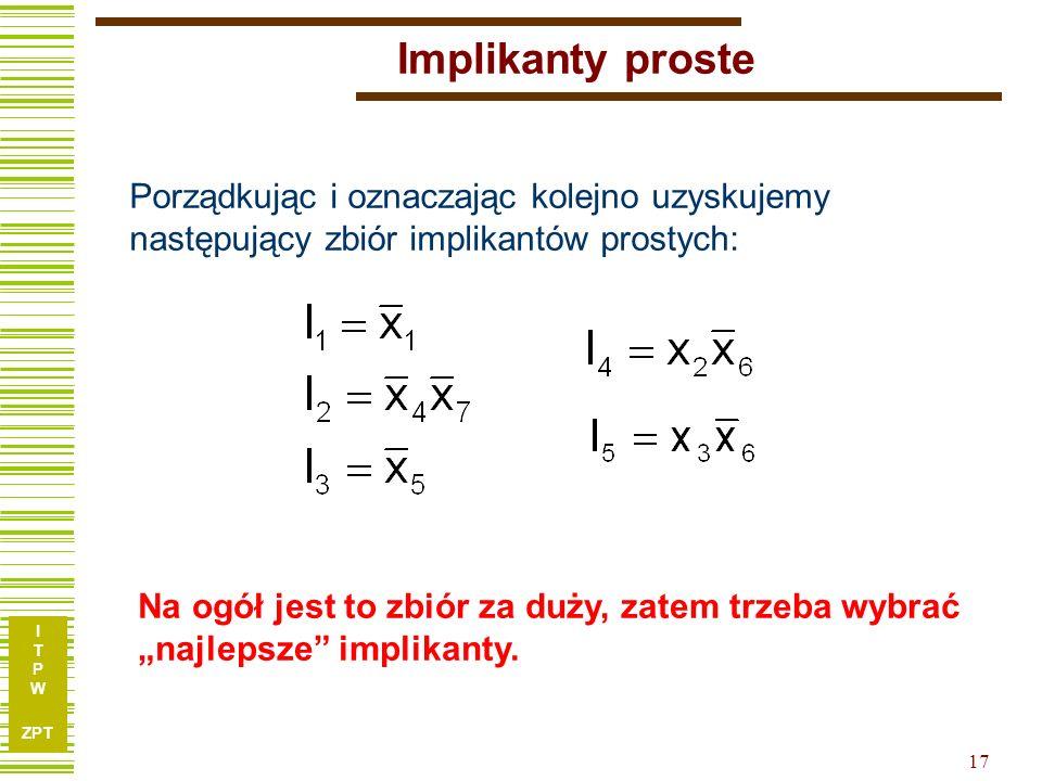 """I T P W ZPT 17 Implikanty proste Porządkując i oznaczając kolejno uzyskujemy następujący zbiór implikantów prostych: Na ogół jest to zbiór za duży, zatem trzeba wybrać """"najlepsze implikanty."""
