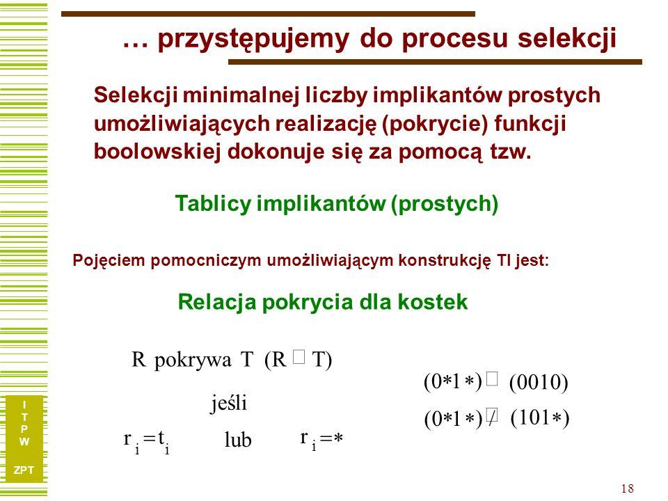 I T P W ZPT 18 … przystępujemy do procesu selekcji Selekcji minimalnej liczby implikantów prostych umożliwiających realizację (pokrycie) funkcji boolowskiej dokonuje się za pomocą tzw.
