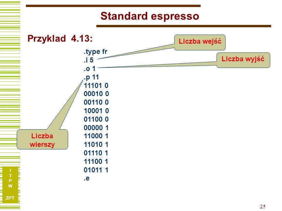 I T P W ZPT 25 Standard espresso.type fr.i 5.o 1.p 11 11101 0 00010 0 00110 0 10001 0 01100 0 00000 1 11000 1 11010 1 01110 1 11100 1 01011 1.e Przyklad 4.13: Liczba wejść Liczba wyjść Liczba wierszy