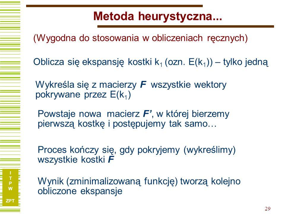 I T P W ZPT 29 Metoda heurystyczna... Oblicza się ekspansję kostki k 1 (ozn.