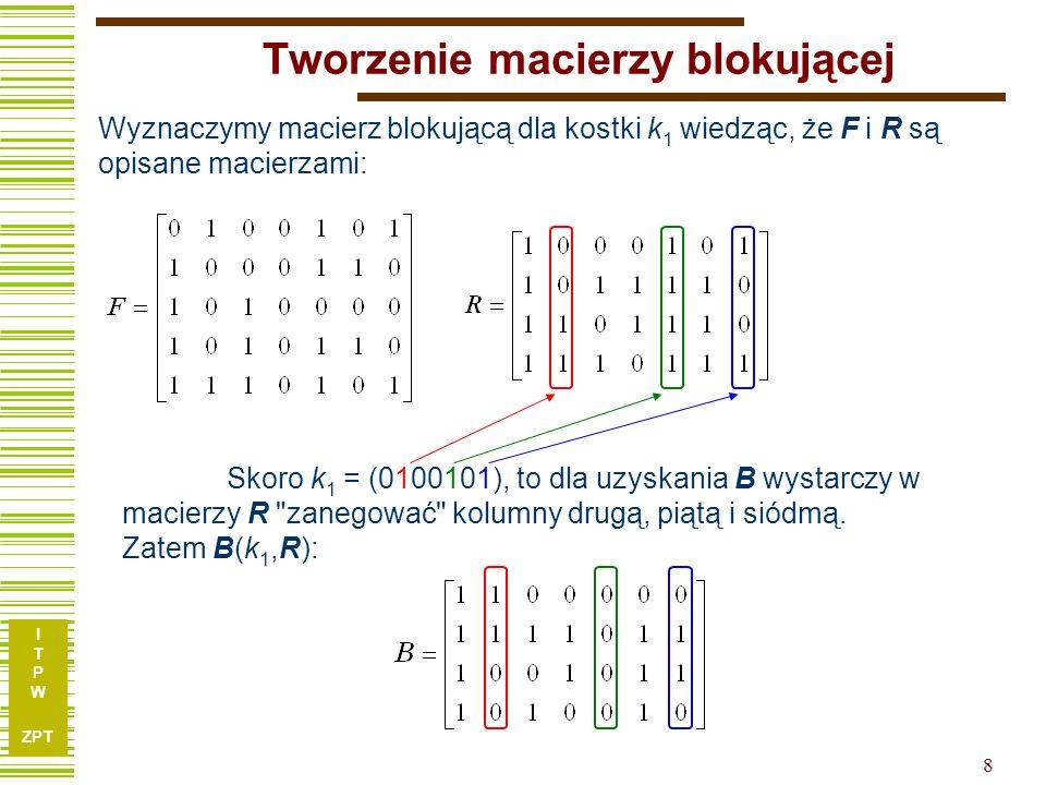 I T P W ZPT 8 Tworzenie macierzy blokującej Wyznaczymy macierz blokującą dla kostki k 1 wiedząc, że F i R są opisane macierzami: Skoro k 1 = (0100101), to dla uzyskania B wystarczy w macierzy R zanegować kolumny drugą, piątą i siódmą.