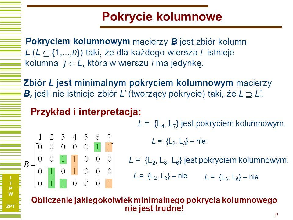 I T P W ZPT 20 Tablica implikantów prostych I1I1 I2I2 I3I3 I4I4 I5I5 k1k1 k2k2 k3k3 k4k4 k5k5 Korzystając z informacji jakie wektory (kostki) funkcji pierwotnej są pokrywane poszczególne implikanty, tworzymy tablicę implikantów prostych: 1 0 0 0 0 0 0 1 0 0 0 1 1 1 0 10 00 01 00 11 W tablicy tej wiersze reprezentują: kostki funkcji pierwotnej, a kolumny – implikanty (kostki po ekspansji).