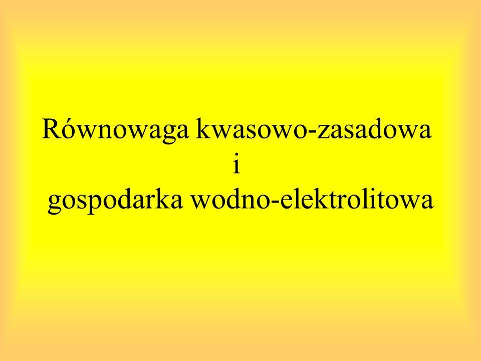 Luka anionowa: różnicowanie kwasicy metabolicznej związanej z nadprodukcją silnych kwasów luka anionowa = ([Na + ] + [K +] ) – ([Cl - ] + [HCO 3 - ]) Wzrost: -Ketoacidosis -Hipokaliemia -Hipokalcemia -Mocznica -Zatrucie metanolem -Leczenie: dużymi dawkami karbenicyliny lub penicyliny Zmniejszenie: -Hipoalbuminemia -Przewodnienie -Hiperkalemia -Hiperkalcemia -Zatrucie solami litu