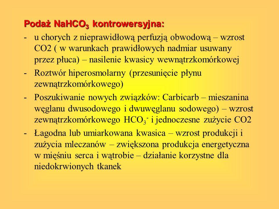 Podaż NaHCO 3 kontrowersyjna: -u chorych z nieprawidłową perfuzją obwodową – wzrost CO2 ( w warunkach prawidłowych nadmiar usuwany przez płuca) – nasi