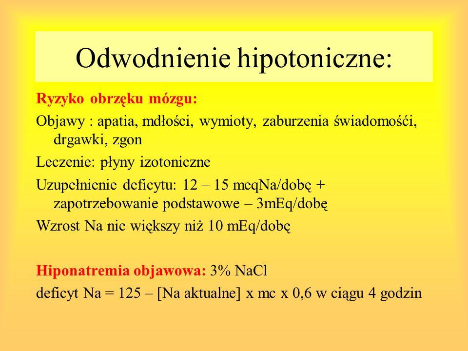Odwodnienie hipotoniczne: Ryzyko obrzęku mózgu: Objawy : apatia, mdłości, wymioty, zaburzenia świadomośći, drgawki, zgon Leczenie: płyny izotoniczne U