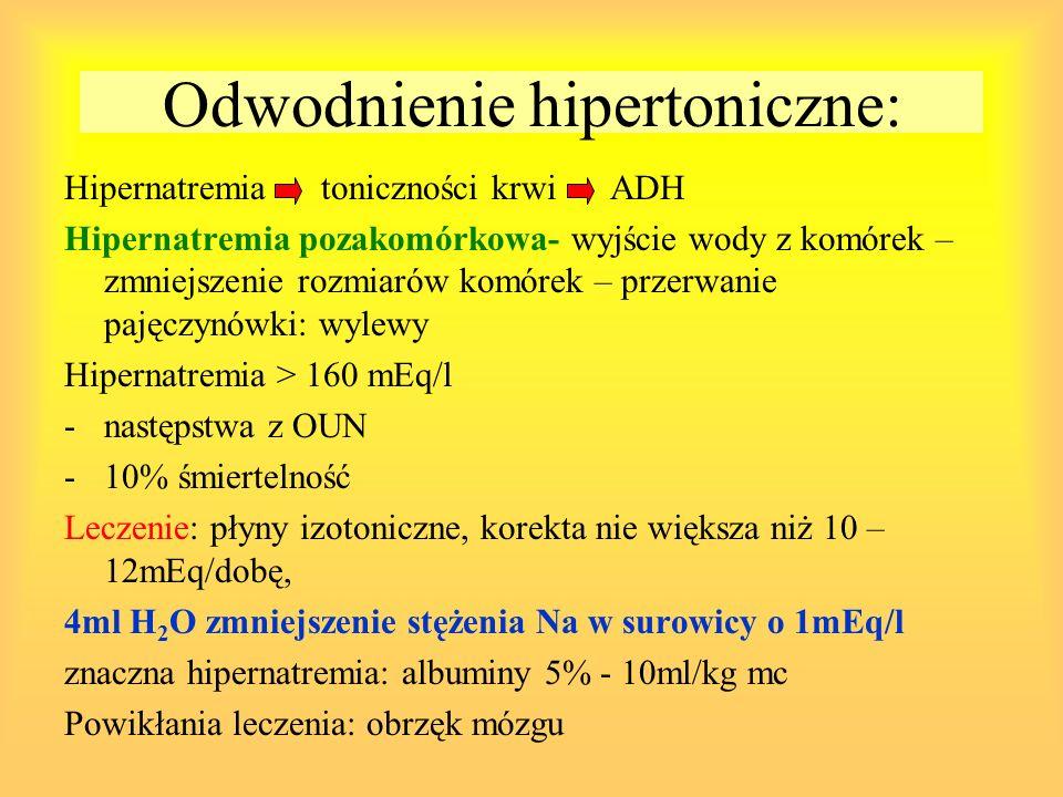 Odwodnienie hipertoniczne: Hipernatremia toniczności krwi ADH Hipernatremia pozakomórkowa- wyjście wody z komórek – zmniejszenie rozmiarów komórek – p