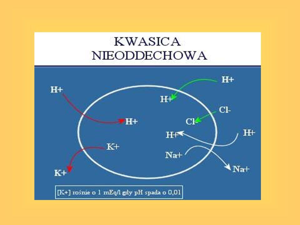 Kwasica metaboliczna -Ujemny BE -Hiperwentylacja – mechanizm kompensacyjny -Leczenie: leczenie leżącego u jej podłoża zaburzenia -Stosowanie dwuwęglanów – 8,4% NaHCO 3 : mEq 8,4% NaHCO 3 = 0,3 x mc (kg) x BE Tylko w przypadku ciężkiej kwasicy: pH < 7,1 [HCO 3 - ] < 7,25
