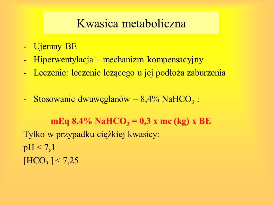 Podaż NaHCO 3 kontrowersyjna: -u chorych z nieprawidłową perfuzją obwodową – wzrost CO2 ( w warunkach prawidłowych nadmiar usuwany przez płuca) – nasilenie kwasicy wewnątrzkomórkowej -Roztwór hiperosmolarny (przesunięcie płynu zewnątrzkomórkowego) -Poszukiwanie nowych związków: Carbicarb – mieszanina węglanu dwusodowego i dwuwęglanu sodowego) – wzrost zewnątrzkomórkowego HCO 3 - i jednoczesne zużycie CO2 -Łagodna lub umiarkowana kwasica – wzrost produkcji i zużycia mleczanów – zwiększona produkcja energetyczna w mięśniu serca i wątrobie – działanie korzystne dla niedokrwionych tkanek