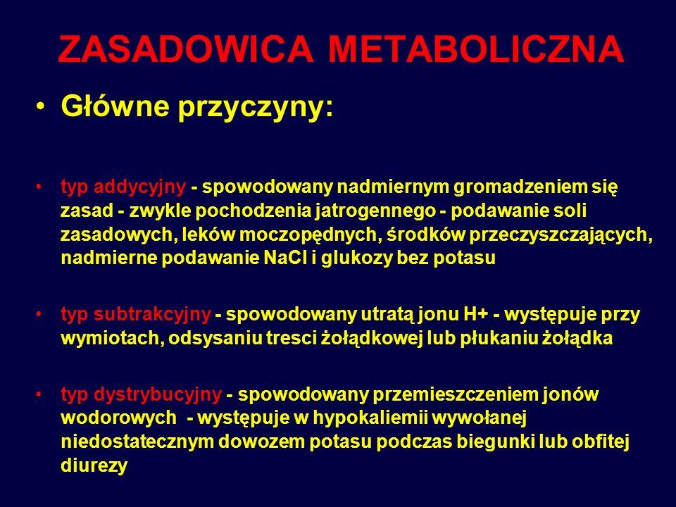 KWASICA METABOLICZNA Najczęstsze przyczyny: typ addycyjny - cukrzyca, głodzenie, stany gorączkowe, zatrucie salicylanami, zatrucie alkoholem -gromadzenie kwasów, typ subtrakcyjny - utrata zasad - głównie w biegunkach i niedrożności jelit, typ subdystrybucyjny - nierównomierne rozmieszczenie jonów wodorowych pomiędzy komórką a płynem pozakomórkowym, występuje po dożylnym podaniu dużych objętości np.
