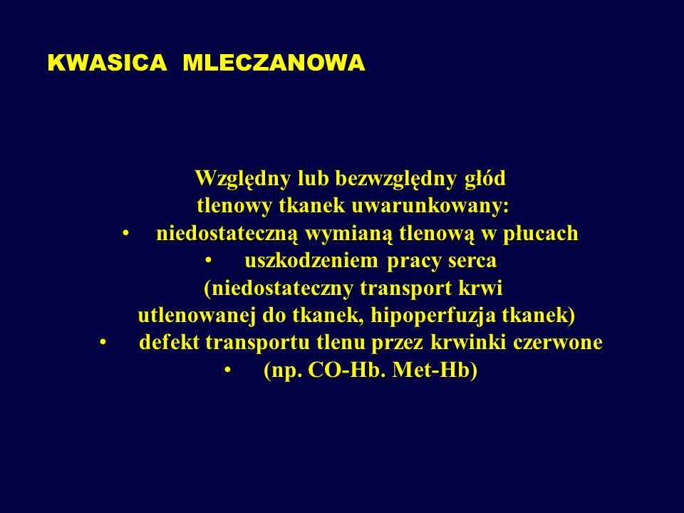 KWASICA CUKRZYCOWA WYNIKBEZWZGLĘDNEGO NIEDOBORU NIEDOBORUINSULINY WZMOŻONA LIPOLIZA Ilość powstającego acetylo-CoA przekracza możliwość tkanek do spalania go w cyklu kwasów trójkarboksylowych ulega on kondensacji do acetoacetyloCoA stając się źródłem kwasu acetooctowego i  -hydroksymasłowego
