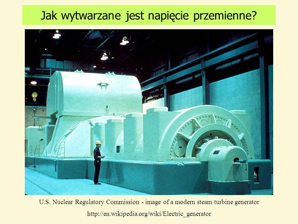 Jak wytwarzane jest napięcie przemienne? czyli: co się dzieje w elektrowni? Turbina parowa Turbina wiatrowa Turbina wodna obraca wirnik prądnicy U.S.