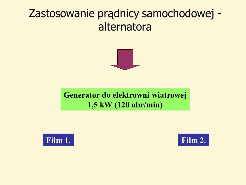 Zastosowanie prądnicy samochodowej - alternatora Generator do elektrowni wiatrowej 1,5 kW (120 obr/min) Film 2.Film 1.