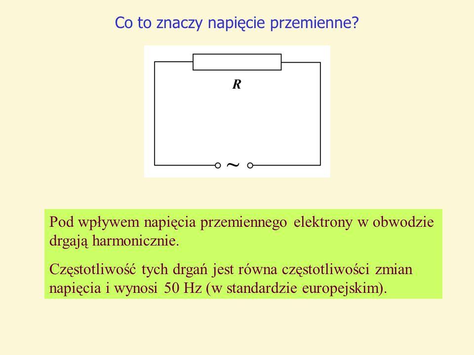 Co to znaczy napięcie przemienne? Pod wpływem napięcia przemiennego elektrony w obwodzie drgają harmonicznie. Częstotliwość tych drgań jest równa częs