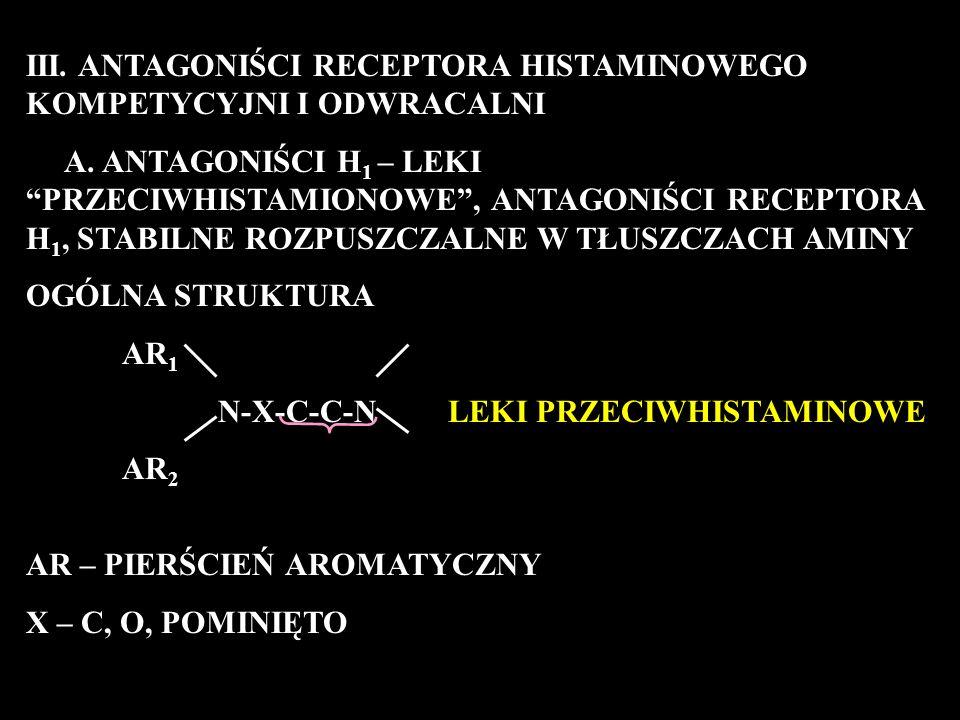 III. ANTAGONIŚCI RECEPTORA HISTAMINOWEGO KOMPETYCYJNI I ODWRACALNI A.