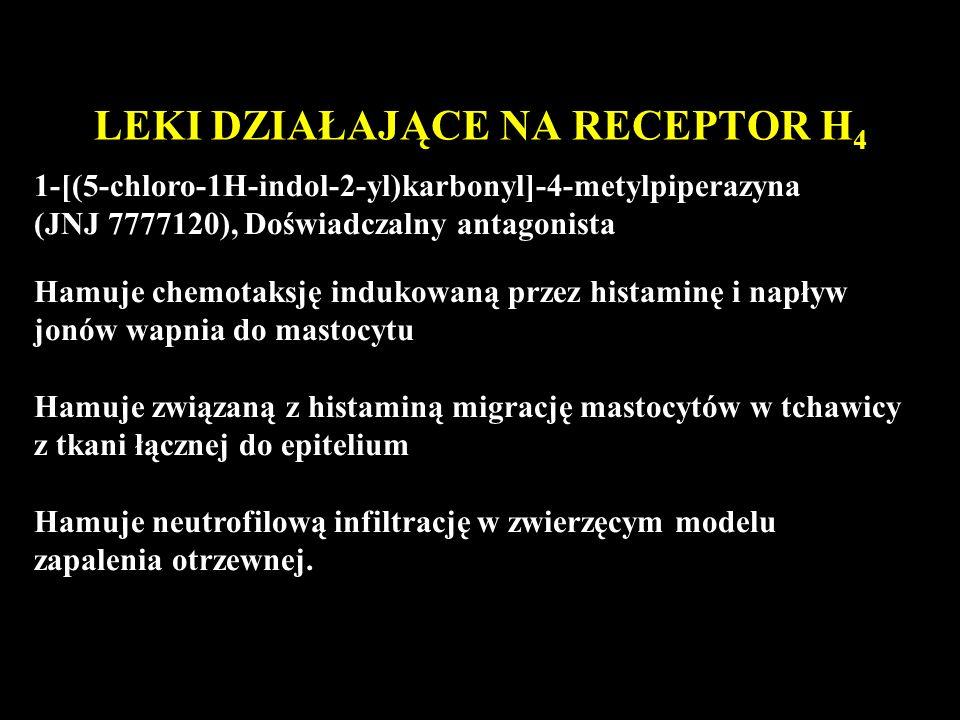 LEKI DZIAŁAJĄCE NA RECEPTOR H 4 1-[(5-chloro-1H-indol-2-yl)karbonyl]-4-metylpiperazyna (JNJ 7777120), Doświadczalny antagonista Hamuje chemotaksję indukowaną przez histaminę i napływ jonów wapnia do mastocytu Hamuje związaną z histaminą migrację mastocytów w tchawicy z tkani łącznej do epitelium Hamuje neutrofilową infiltrację w zwierzęcym modelu zapalenia otrzewnej.