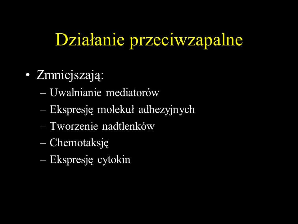 Działanie przeciwzapalne Zmniejszają: –Uwalnianie mediatorów –Ekspresję molekuł adhezyjnych –Tworzenie nadtlenków –Chemotaksję –Ekspresję cytokin