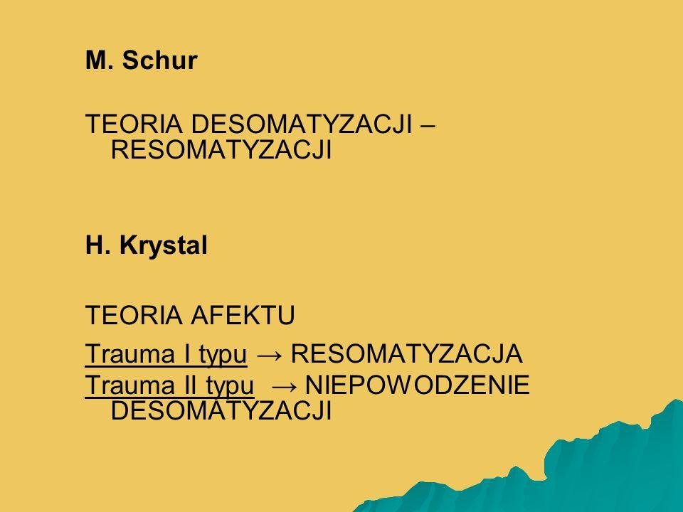 M. Schur TEORIA DESOMATYZACJI – RESOMATYZACJI H. Krystal TEORIA AFEKTU Trauma I typu → RESOMATYZACJA Trauma II typu → NIEPOWODZENIE DESOMATYZACJI