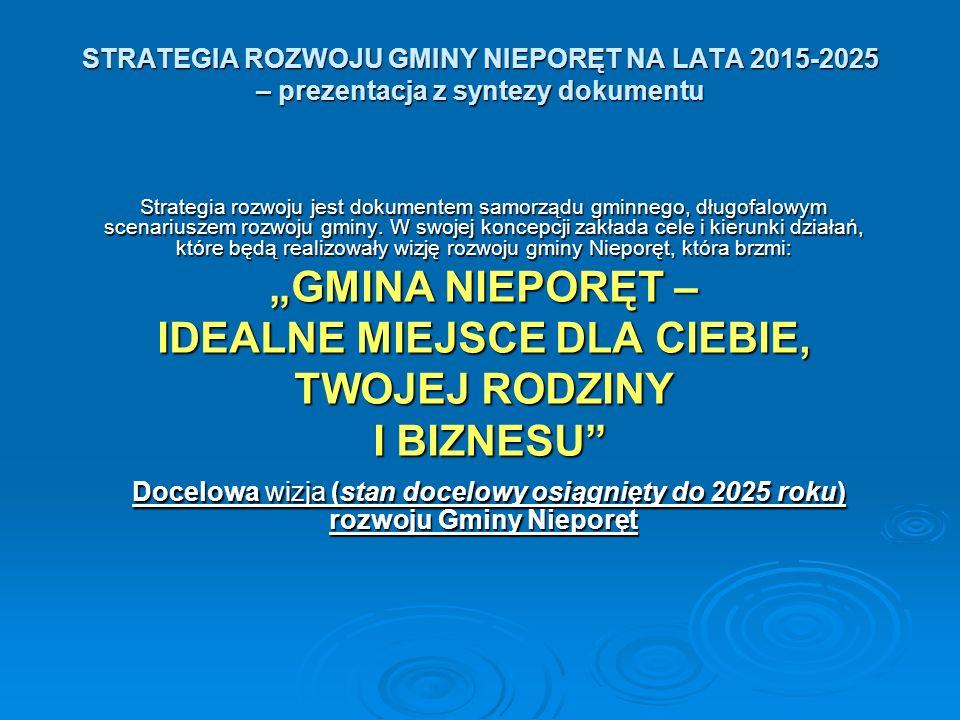 STRATEGIA ROZWOJU GMINY NIEPORĘT NA LATA 2015-2025 – prezentacja z syntezy dokumentu Strategia rozwoju jest dokumentem samorządu gminnego, długofalowym scenariuszem rozwoju gminy.