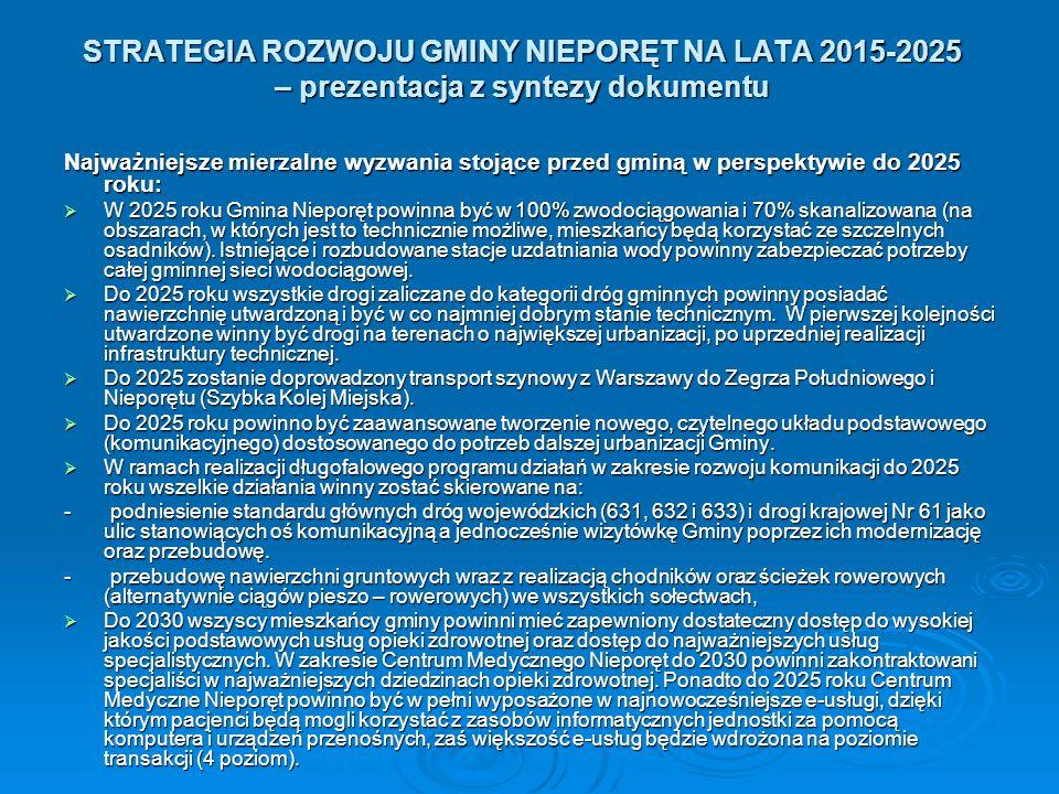 STRATEGIA ROZWOJU GMINY NIEPORĘT NA LATA 2015-2025 – prezentacja z syntezy dokumentu Najważniejsze mierzalne wyzwania stojące przed gminą w perspektywie do 2025 roku:  W 2025 roku Gmina Nieporęt powinna być w 100% zwodociągowania i 70% skanalizowana (na obszarach, w których jest to technicznie możliwe, mieszkańcy będą korzystać ze szczelnych osadników).