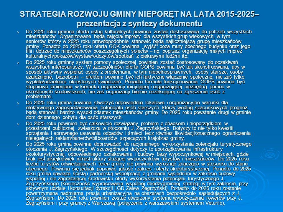 STRATEGIA ROZWOJU GMINY NIEPORĘT NA LATA 2015-2025– prezentacja z syntezy dokumentu  Do 2025 roku gminna oferta usług kulturalnych powinna zostać dostosowana do potrzeb wszystkich mieszkańców.