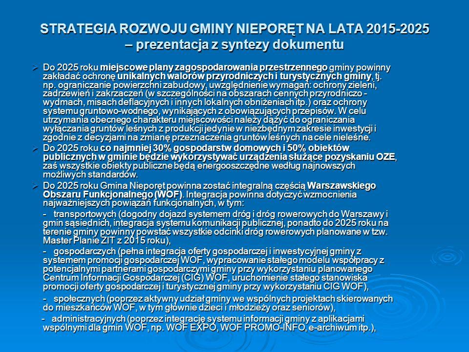STRATEGIA ROZWOJU GMINY NIEPORĘT NA LATA 2015-2025 – prezentacja z syntezy dokumentu  Do 2025 roku miejscowe plany zagospodarowania przestrzennego gminy powinny zakładać ochronę unikalnych walorów przyrodniczych i turystycznych gminy, tj.