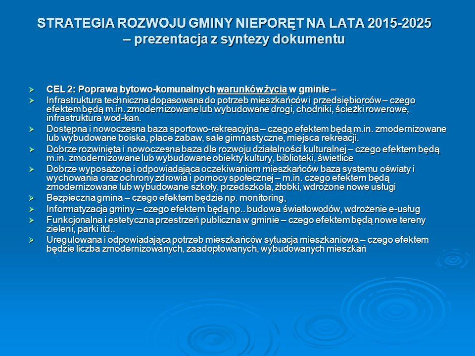 STRATEGIA ROZWOJU GMINY NIEPORĘT NA LATA 2015-2025 – prezentacja z syntezy dokumentu  CEL 2: Poprawa bytowo-komunalnych warunków życia w gminie –  Infrastruktura techniczna dopasowana do potrzeb mieszkańców i przedsiębiorców – czego efektem będą m.in.
