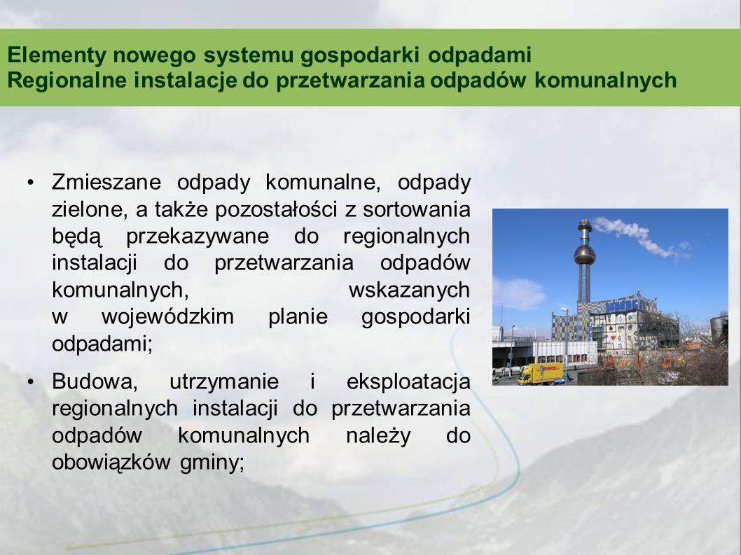 Zmieszane odpady komunalne, odpady zielone, a także pozostałości z sortowania będą przekazywane do regionalnych instalacji do przetwarzania odpadów komunalnych, wskazanych w wojewódzkim planie gospodarki odpadami; Budowa, utrzymanie i eksploatacja regionalnych instalacji do przetwarzania odpadów komunalnych należy do obowiązków gminy; Elementy nowego systemu gospodarki odpadami Regionalne instalacje do przetwarzania odpadów komunalnych