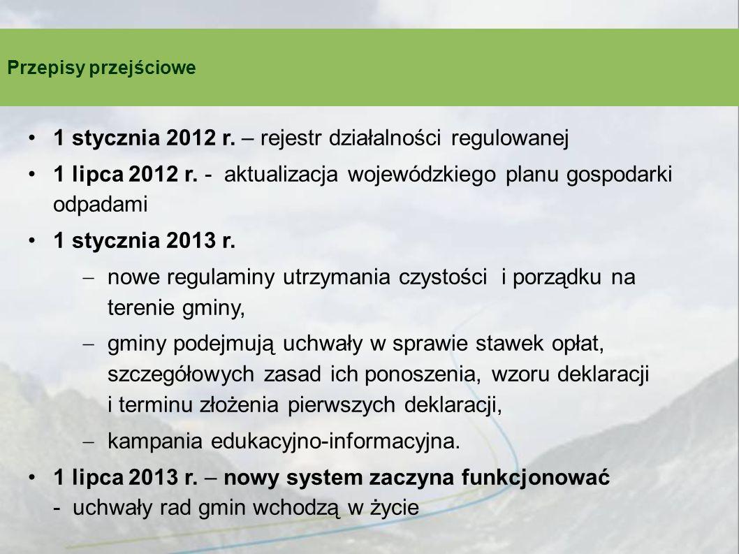 Przepisy przejściowe 1 stycznia 2012 r. – rejestr działalności regulowanej 1 lipca 2012 r.