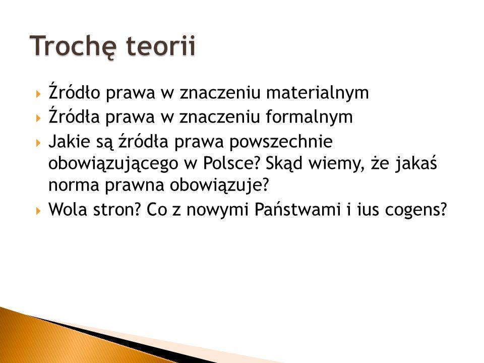  Źródło prawa w znaczeniu materialnym  Źródła prawa w znaczeniu formalnym  Jakie są źródła prawa powszechnie obowiązującego w Polsce.