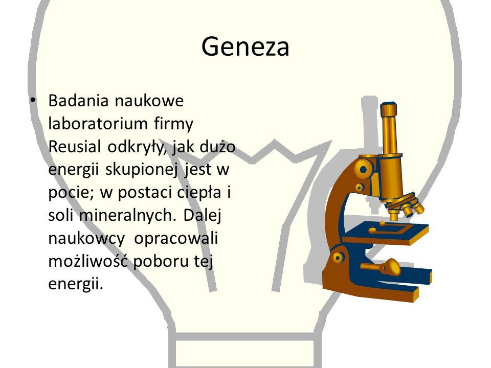 Geneza Badania naukowe laboratorium firmy Reusial odkryły, jak dużo energii skupionej jest w pocie; w postaci ciepła i soli mineralnych.