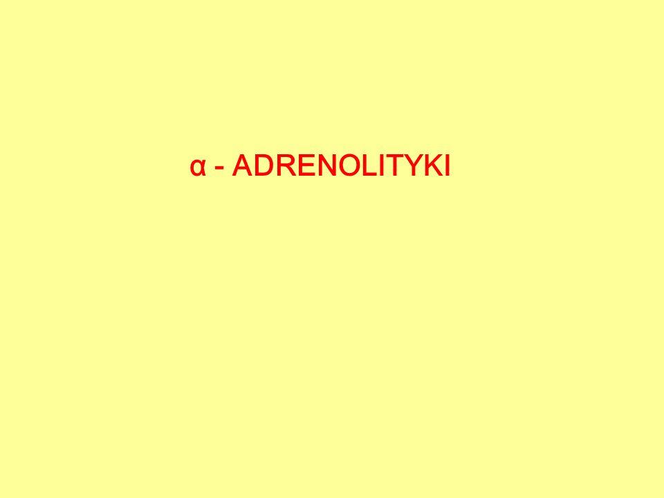  - adrenolityki nieselektywne NA - 11  2 Receptory narządowe Blokada nieselektywna + Wzrost uwalniania NA (DN) NA działa na r.